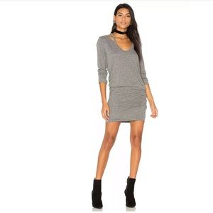 Pam & Gela Knit Cut Out Dress Ruched Long Sleeve S
